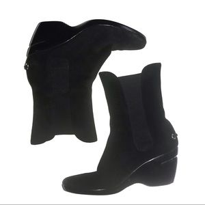 Cole Haan Black Suede Wedge Ankle Boots Nike Air